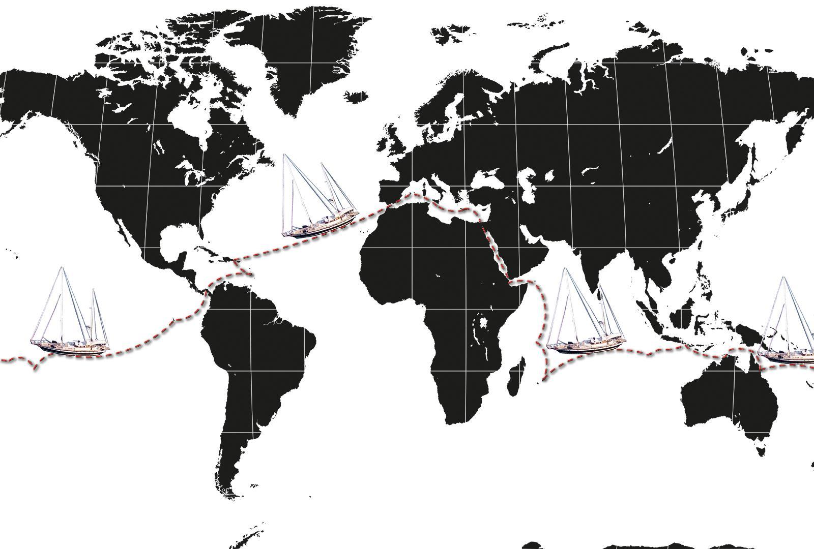 Circumnavigation Sunbeam A Jongert 25DS Travel around the world map